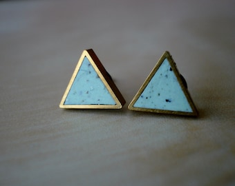 mint chip small brass triangle stud earrings