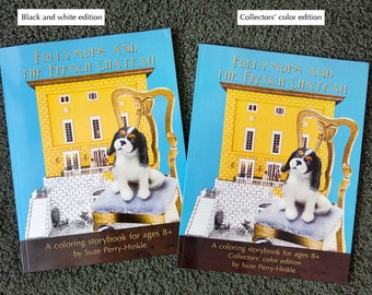 "Coloring Book gift pack with mini book and tote bag - ""Follymops and the French Chateau"" - Cavalier King Charles spaniels"
