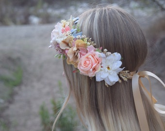 Peach, Blush & Gold Flower Crown - Peach Flower Girl Crown - Photo Prop - Bridal Flower Crown- Blush Hair Wreath - Peach Baby Flower Crown