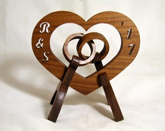 "Handmade Wood 'Wedding Rings"" with custom initials and date"