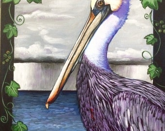 Pelican (acrylic painting, louisiana, state bird, storm, lake ponchartrain, wild grapevine, coastal, gulf coast, gulf of mexico, sacrifice)