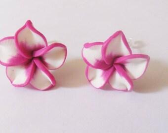 Exotic earrings tiare flower pink(roses)