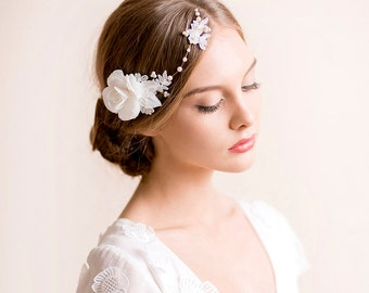 Floral Bridal Headpiece with Gardenia Flower - Wedding Headpiece  - Bridal Flower Hairpiece - Bridal Hair Piece - Lace Hair Vine