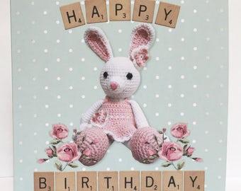 Glitter Crochet Bunny Birthday Card