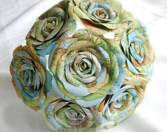 vintage atlas map paper rose bouquet for weddings or home decor as seen in WV Weddings magazine