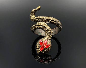 Snake Ring, Coiled Snake Ring, Jeweled Snake, Statement Ring, Burnished Gold, Red Rhinestones, Asp Ring, Serpent Ring, Vintage Rings