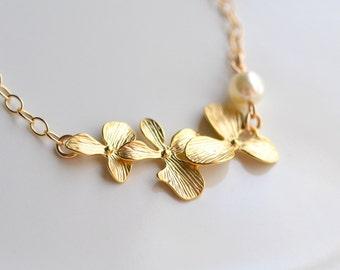 Bridal Jewelry Triple Orchid Gold Wedding Bracelet