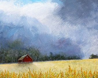 Moon Painting - Country Painting - Red Barn - Orange Flowers Field - Farm Painting - Matted Print