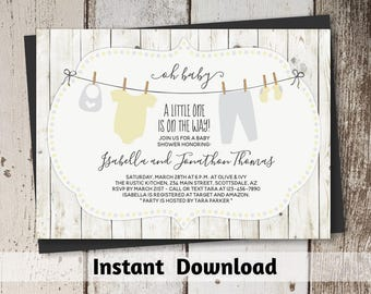 Rustic Baby Shower Invitation Gender Neutral - Printable Template - Instant Download Digital File PDF - Yellow & Gray Onesies on Clothesline