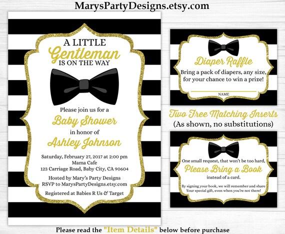 Little Gentleman Baby Shower Invitation Boy Gold Black White