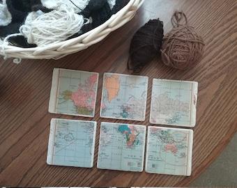 Old world map coasters - set of six