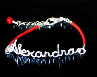Name Bracelet, Personalized Bracelet ,Child Bracelet,  Leather Bracelet, Leather, Customizable, Wire Letter, Custom Made, Bridesmaid Gift