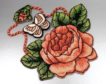 Bead Embroidered Statement necklace Glowing Peace Rose