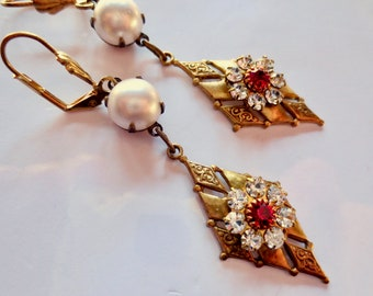 Art Deco earrings Edwardian earrings vintage style 1920s Art Nouveau earrings pearl and ruby crystal long earrings