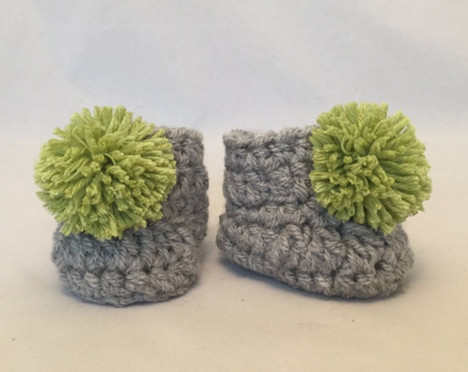 baby booties crochet handmade grey  green pom pom baby shower gift knit