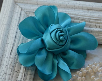 """Satin Fabric Roses, Rolled Rosettes, Turquoise Satin Rolled Rosettes, 3"""" Satin Roses, Rolled Roses, Rolled Satin Roses, A6"""
