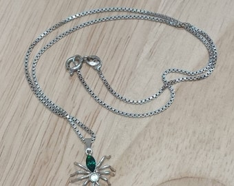 Small sterling silver spider pendant and chain