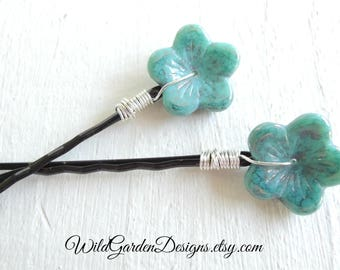 Turquoise Flowers Decorative Bobby Pins Boho Bohemian Wedding Wire Wrapped Flower Hair Pins Hair Accessories Something Blue Bridal Accessory
