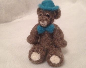 Top Hat Teddy Bear needle felted with love