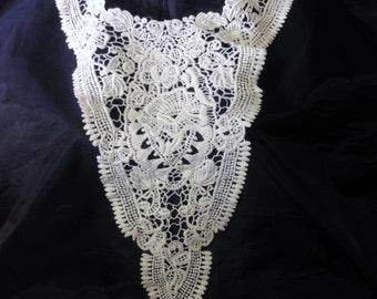 1 Applique Ivory Natural Cotton Embroidered Bodice Applique Neckline Collar #C18