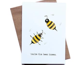 Food Pun Greeting Card for Him Her I Love You Birthday Anniversary Boyfriend Girlfriend Husband Wife Bees, father's day