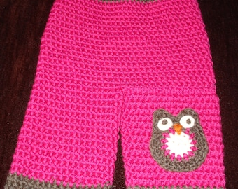 "Pink and Brown Longies With Owl  """"FREE SHIPPING"""""