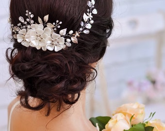 Coworker gift for wife Bridal hair accessories Bridal hair comb Wedding hair comb Bridal hair flower Wedding hair vine comb Clothing gift