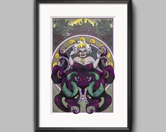 Ursula Little Mermaid Art Nouveau Inspired Art Print Villain Villainess