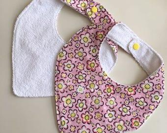 Flowery Bandana Baby Bib - 100% cotton towel, handmade