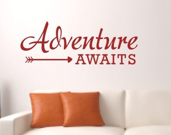Wall Decal Quote - Adventure awaits arrow Vinyl Wall Decal - Travel Vinyl Wall Decal - Adventure awaits decal - Adventure Vinyl Decal