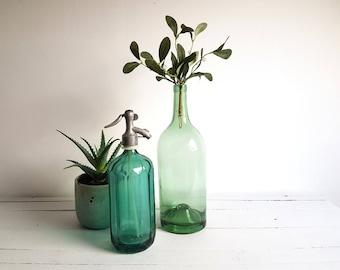Vintage old large French wine bottle / vase