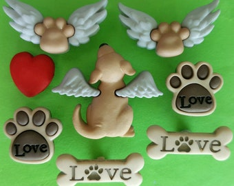 MY BELOVED DOG Pup Puppy Pet Wings Paw Animal Sympathy Dress It Up Craft Buttons