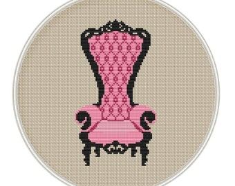 Chair cross stitch pattern, Counted cross stitch pattern, Instant Download,  Free shipping, PDF, MCS115