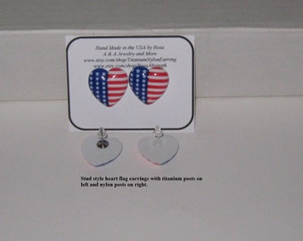Hypoallergenic,Holiday, 4th of July Earrings,American Heart Flag Earrings,Choice of Titanium or nylon Posts