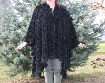The Morticia Wrap - A Striking Long Black Fringed Shawl or Ruana