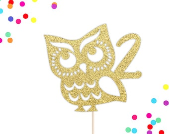 Owl Cake Topper | Owl Birthday Cake Topper | First Birthday Decor | Owl Age Topper | Owl Party Decor | Owl Birthday | Number Cake Topper