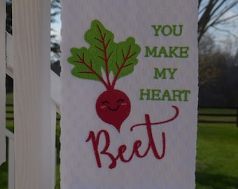 You Make My Heart Beet Kitchen Towel