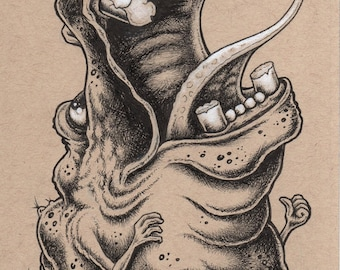 Hippo Monster by Bryan Collins original pen and ink creature art