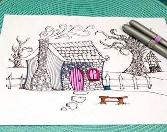 Fairytale Cottage Coloring Page Zentangle Kids Adult Doodle Design Printable Instant Download Activity