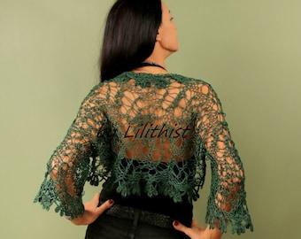 Forest Green Shrug, Crochet Shrug, Lace Bolero, Lace Shrug, Evening Shrug, Knit Shrug, Crochet Bolero, Wedding Bridal Shrug Bolero Cape