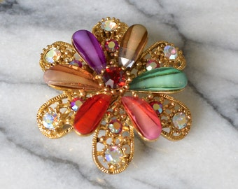 Brooch /Pendant Harlequin Colours Flower Gold Tone Fittings with Iridescent Diamanté Rhinestones Two in One - Signed HL - Gift boxed