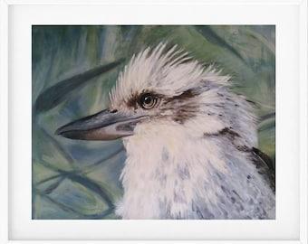 Kookaburra Art Print,  bird painting, kookaburra painting, bird lover gift, bird art, parrot,  bird gift, Australian bird, wall art print
