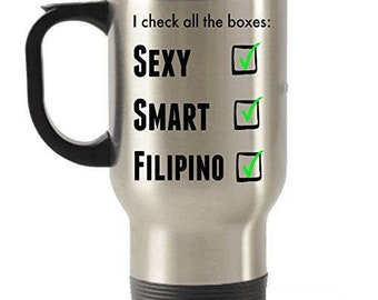 Filipino Travel Mug, Filipino Coffee mug, Filipino  Gifts, Stainless Steel Mug, Insulated Tumblers, Filipino Tumblers