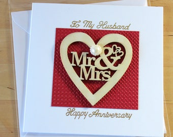 Anniversary card special personalised card husband anniversary