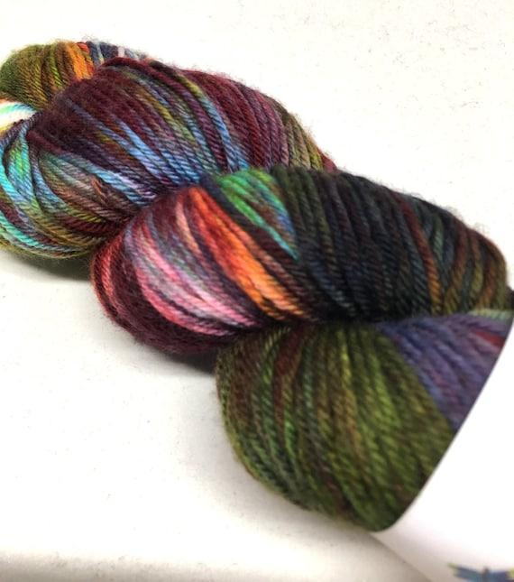 Hand Dyed Superwash Merino/Nylon blend DK Yarn_It Was a Dark & Stormy Night