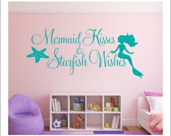 Mermaid Kisses Wall Decal Starfish Wishes Decal Wall Decal Mermaid Starfish Beach Ocean Wall Decal Girls Nursery Bedroom Decal Housewares