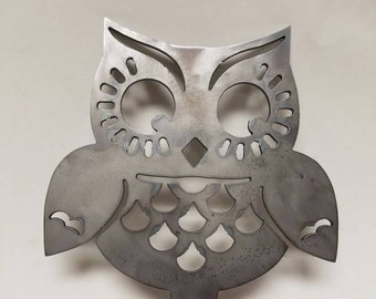 Whimsical Owl Garden Art : Made With A Spear So You Can Stick It In The Ground Of Your Garden, Or Favorite Potted Plant!