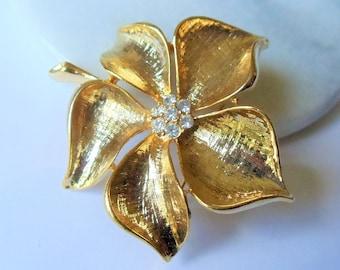 Vintage Gold Tone Rhinestone Flower Brooch, Brushed Gold Tone Clear Rhinestones Dogwood Flower Pin, Mid Century Brooch, Estate Jewelry,1950s