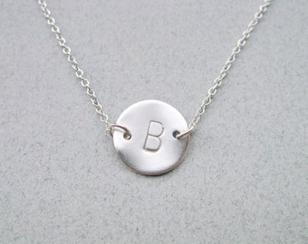 Silver disc initial necklace, Initial necklace silver, Silver personalized necklace, Disk necklace, Minimalist necklace silver,