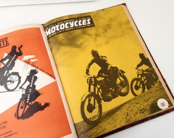 """Hardcover book containing """"Motorcycles"""" 1951 1952 magazine"""